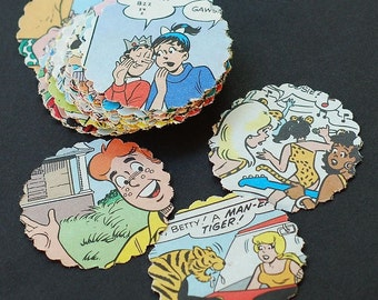Archie Paper Circles- comic book paper scalloped circle punches, table confetti, Archie themed birthday party decorations, table confetti