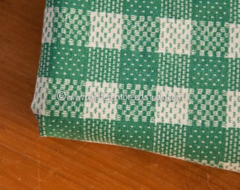 The Perfect Vintage Green- Vintage Fabric 35 in wide Checked Plaid 40s 50s