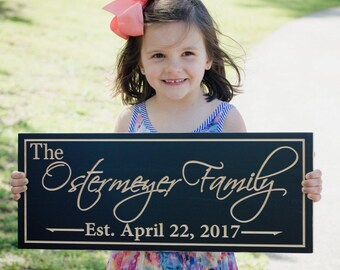 Family Name Sign, Wood Established Sign, Custom Date Sign, Custom Wedding Sign, Carved Wooden Sign, Benchmark Custom Signs, Maple OG