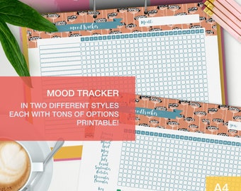 Mood tracker printable - a4 planner inserts - self care planner - me time