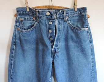 Vintage Levis 501 Denim Jeans 80's High Waisted Mom Jeans 31 x 30 Levis Strauss Distressed Denim