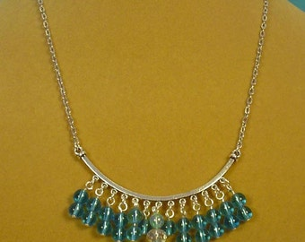 """18"""" Aqua Blue and Clear AB Faceted Fringy Focal Necklace - N280"""