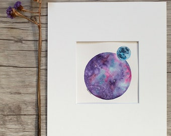 """Aries Star and Moon 4.5""""x4.5"""" ORIGINAL painting matted for 8x10 framing"""