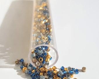 Miyuki Delica beads, Japanese beads, mixed Blue/Gold 11/0, weight 4g