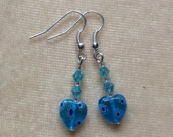 Handmade earrings, drop earrings, millefiori earrings, blue bead earrings,