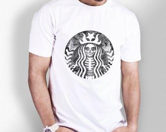 Distressed Skeleton Starbucks - White Tshirt - Mens - XS S M L XL XXL 3XL 4XL 5XL