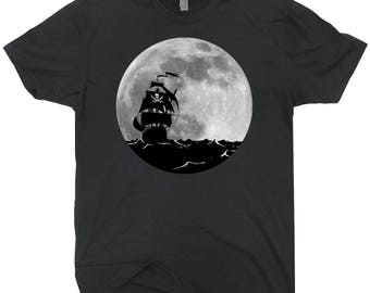Pirate Ship Full Moon T-shirt Fantasy Ghost Ship Retro Shirt
