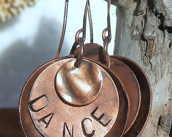 """All Copper, """"Dance"""" Stamped Earrings with Copper Ear Wires E070,Jewelry"""