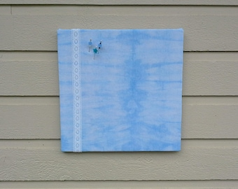 Tie Dye Blue Linen blend Pinboard, Nautical Beach styled Bulletin Board, hand dyed with white embroidered lace accent
