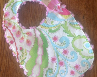 Pink, green, and blue Beautiful Flower Minky Baby/Toddler Bib