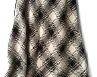 Vintage 70s SKIRT pendleton Checkered Skirt A Lined  VINTAGE 1970s  SKIRT brown White Plaid skirt Size L large