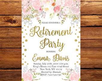 Retirement Party Invitations, Floral Retirement Party Invitation Template Printable, Floral Retirement Invitation,Retirement Invitation 217