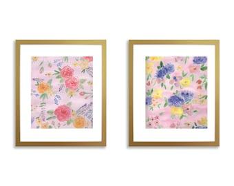 Set of two prints, nursery wall art set of two, flower nursery, watercolor flowers, pink nursery art, girl nursery art, girl nursery ideas