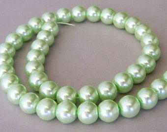 Mint green glass pearls, 10mm, light green glass pearls, full strand