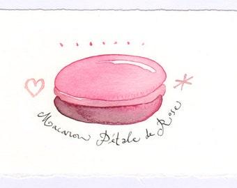Macaron, Original watercolor painting, pink, food illustration, french art, rose flavor
