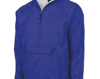 Monogrammed Unisex Pullover Wind and Rain Jacket Royal Blue