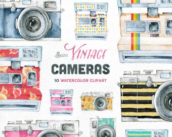 Vintage Cameras. 10 Handpainted clipart, wedding elements, flowers, invite, cover for camera, photocamera, boho, clipart, retro