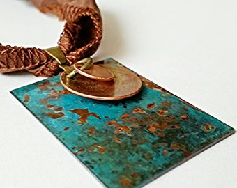Copper Necklace, Copper jewelry, verdigris jewelry, turquoise necklace, mixed metal necklace, gypsy necklace, blue pendant, rustic jewelry