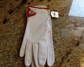Vintage White Nylon Stetson Dupont Womens Gloves USA Red
