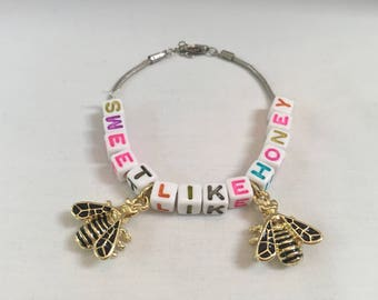 Sweet like honey bead and charm bracelet
