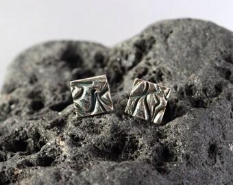 Square Tidal fine silver stud earrings