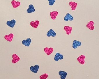 200 Gender Reveal Party Decor Heart Confetti Pink and Blue Heart Confetti Baby Shower Confetti Glitter Baby Pink Blue Confetti Party