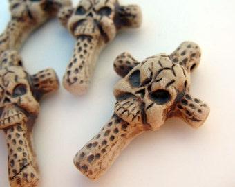 4 Highfired Cross with Skulls Pendants
