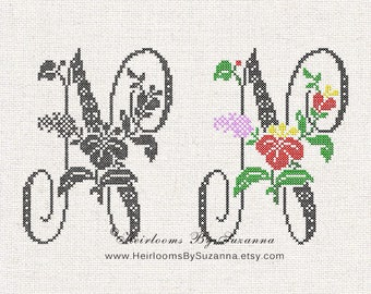 Large Antique Floral Monogram - Machine Cross Stitch Embroidery - Tropical Flower Initial - Cross Stitch Font - Floral Font N - HBS-61-N