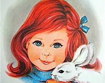 Vintage Irene Charles Girl holding a Rabbit Illustration