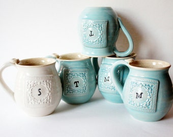 One Monogram Mug - Made To Order - Stamped with an Initial of your choice
