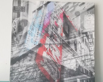 """Chicago 13"""" Canvas Wall Art - Double Door Photo Collage"""