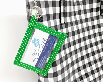 Keyring Business Card Holder - Standard size - Business Card Case - Clear Pouch in Vertical or Landscape on Key Ring