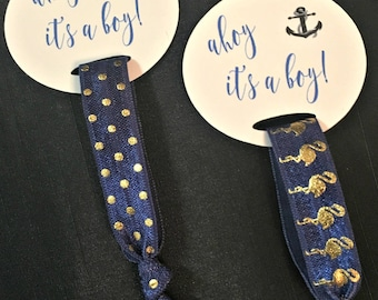 Nautical Baby Shower Hair Tie Favors /Navy Blue Anchor Hair Tie Favors/ Ahoy it's a boy/ Baby Shower Hair Tie Favors/Boy Baby Shower Favors