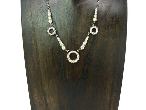 Antique Edwardian Art Deco paste and Sterling Silver Necklace. 1910s 1920s Geometric Circles & Rays.