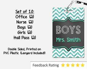 Teal Chevron Theme Classroom Hall Passes for Teachers, Personalized, Set of 10
