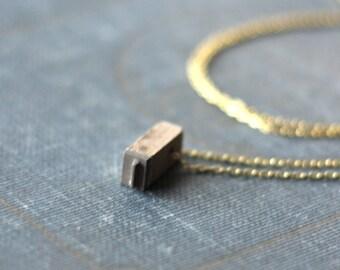 Antique Vintage Wooden Letterpress Block Necklace, Letter I or L