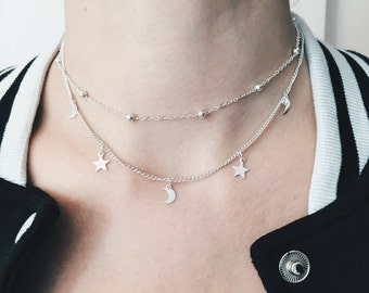 Moon & Star Layered Choker Necklace   Crescent Moon and Star Necklace   Dainty Minimalist Simple Necklace   Boho Necklace   Gift Idea