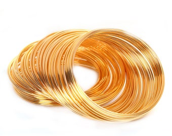 """Memory Wire Gold Plated Steel Wire Rolls 1mm Wire 100 Circles 2 1/8"""""""