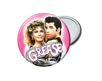 "Grease Movie Pink:  Pick From 2.25"" Bottle Opener - Pinback Button - Magnet - Mirror - Ornament"