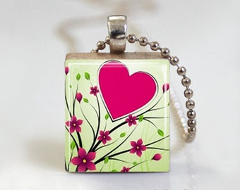Pink Heart and Flowers - Scrabble Tile Pendant - Free Ball Chain Necklace or Key Ring