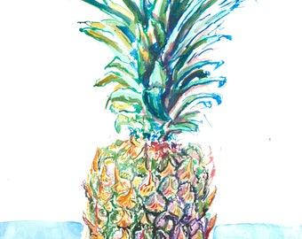 Pineapple - 5x7 - Fine Art Print - Giclee Watercolor Print