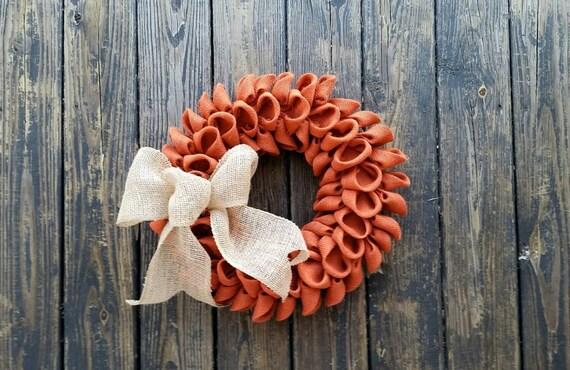 Burlap Wreath, Orange Burlap Wreath