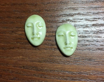 Pair of Two Medium Almond Ceramic Face Stone Cabochons in Celedon