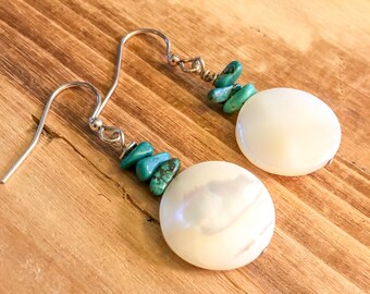 Turquoise // Mother of Pearl // Drop Earrings