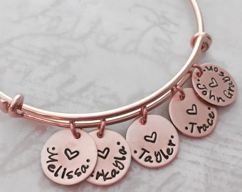Mother's Day gift, Rose gold filled personalized bracelet, mother gift expandable bangle bracelet, custom hand stamped, charm bracelet