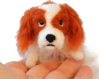 Personalised  Dog Figurine ,Needle Felted Dog - Cavalier King Charles Spaniel or any breed of Cat, Dog or Horse of Your Choice Made To Order