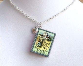 Through The Looking Glass With Tiny Heart Charm - Miniature Book Necklace