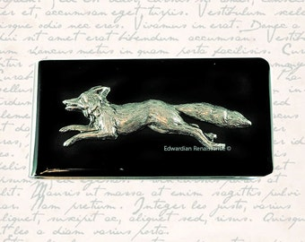 Money Clip Silver Fox Inlaid in Hand Painted Black Onyx Woodland Inspired Custom Colors and Personalized Options