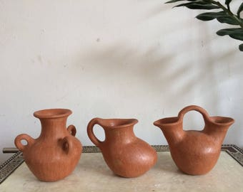 Set of 3 clay pottery from Oaxaca.