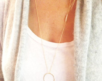 Opal Necklace, Long Gold Necklace, Gold Opal Necklace, October Birthstone, Circle Necklace, 14k Gold Filled